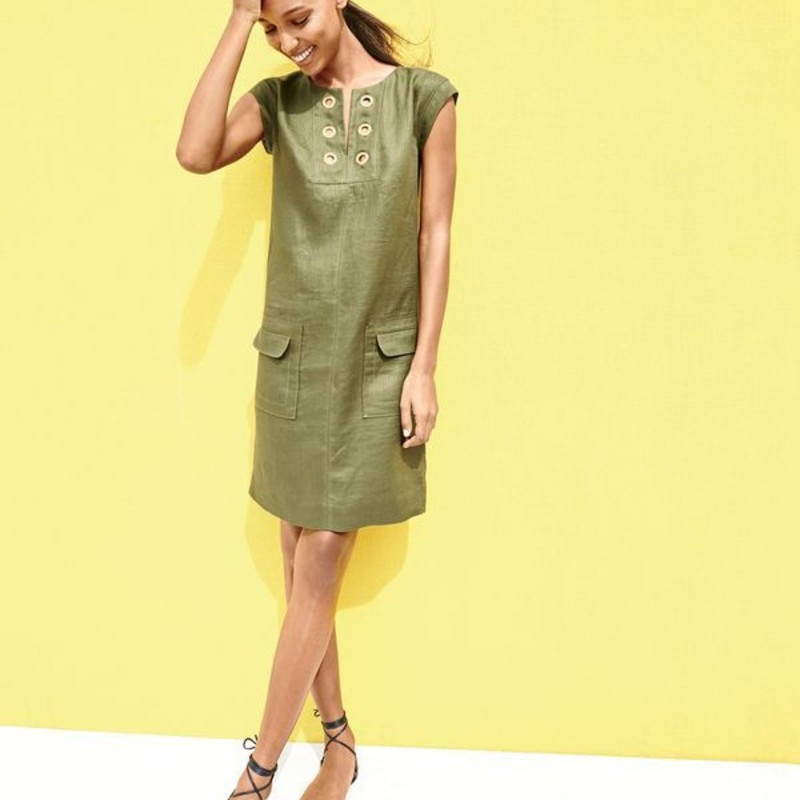 J. Crew Linen shift dress with grommets, EUC size 14 in olive green<br /> <br /> &quot;This flattering shift dress is made in a cool linen fabric with pretty grommet detailing at the collar. Plus, pockets!<br /> <br />     Linen.<br />     Back zip.<br />     Patch pockets.<br />     Lined.<br />     Dry clean.Sheath silhouette.<br /> Falls above knee, 36 1/2&quot; from high point of shoulder &quot;<br /> <br /> Photo and description credits: jcrew.com