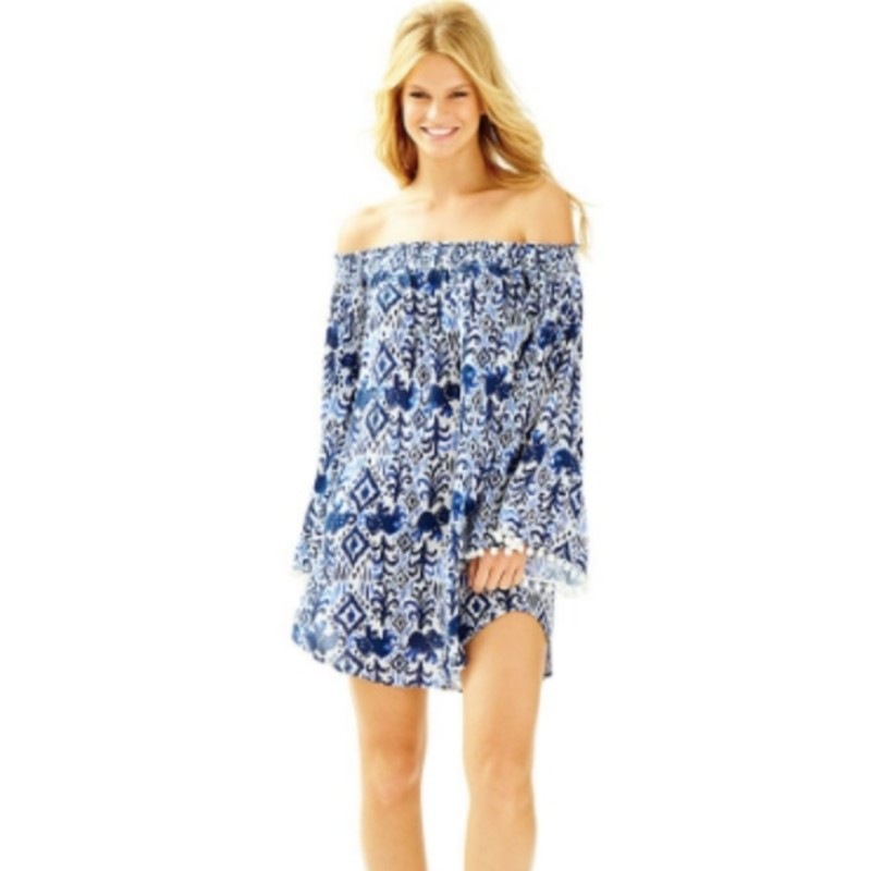 Lilly Pulitzer Nita Off The Shoulder Cover up, Blue/wht, Size: Med<br /> <br /> &quot;Whether you&#039;re spending your day by the pool or soaking up the sun on the beach, the Nita Coverup is what you&#039;ll want to be wearing. It&#039;s printed, off the shoulder, has bell sleeves AND pom poms.<br /> Off The Shoulder Coverup With Bell Sleeves Pom Pom Details.<br /> 35&quot; From Top Of Shoulder To Hem.<br /> Crinkle Viscose Gauze - Printed (100% Rayon).<br /> Machine Wash Cold. Separately. Delicate Cycle.<br /> Imported.&quot;<br /> <br /> Photo and description credits: lillypulitzer.com