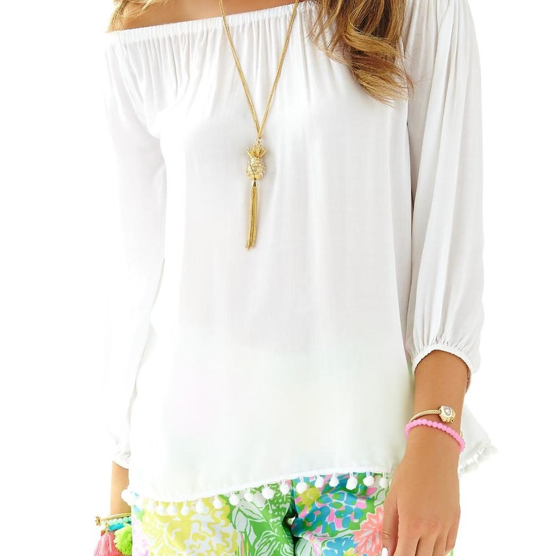 Like new Lilly Pulitzer Enna Off Shoulder Top white, Med,<br /> <br /> &quot;The Enna Top is the perfect off the shoulder top. Wear this easy fitting top with everything this season. This trend is here to stay.<br /> Loose Fitting Off The Shoulder Top.<br /> Fine Viscose (100% Rayon).<br /> Machine Wash Cold.&quot;<br /> <br /> Photo and description credits: lillypulitzer.com
