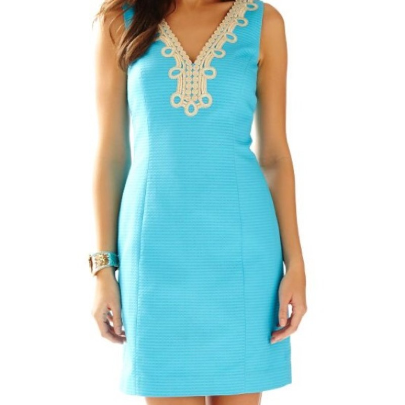Lilly Pulitzer Bentley V-Neck Shift Dres, Turquois, Size: 10<br /> <br /> &quot;The Bentley double v-neck dress is an update on one of our classic shifts, the Janice. From a wedding guest dress to a special luncheon with friends and family, this shift is one you&#039;ll have for many seasons to come - timeless.<br /> Shift Dress With Gold Lace Around Front And Back V-Necklines. 20&quot; From Natural Waist To Hem. Wave Jacquard (100% Cotton). Machine Wash Cold. Imported. &quot;<br /> <br /> Photo and description credits; lillypulitzer.com