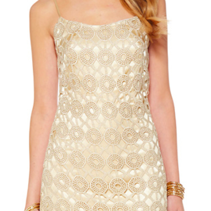 Like new condition Lilly Pulitzer Beth Lace Slip Dress, Gold, Size: 6
