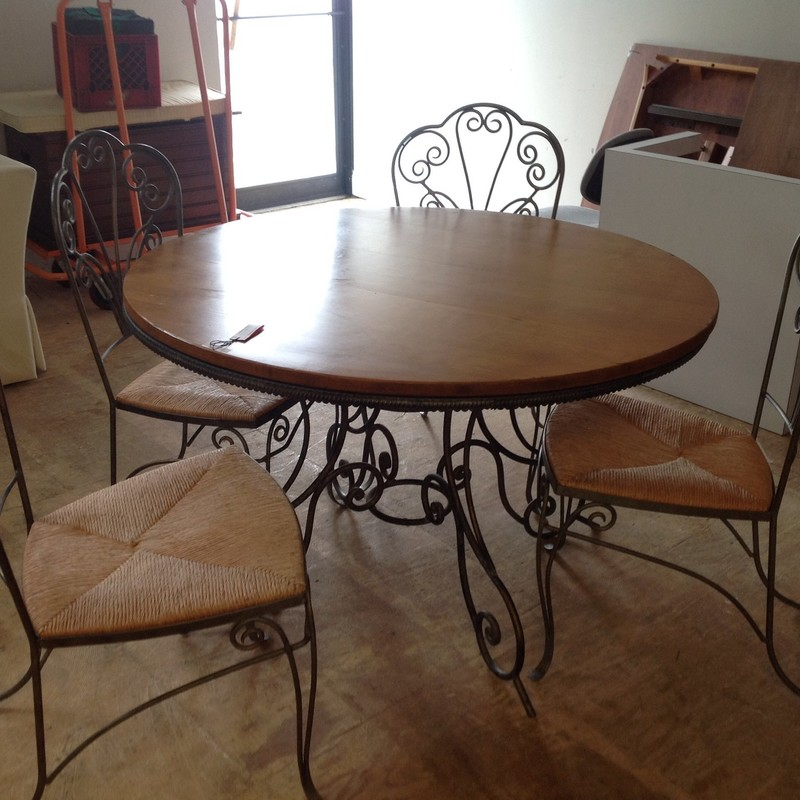 Metal/Wood Table Pine, Size: 47 Inch