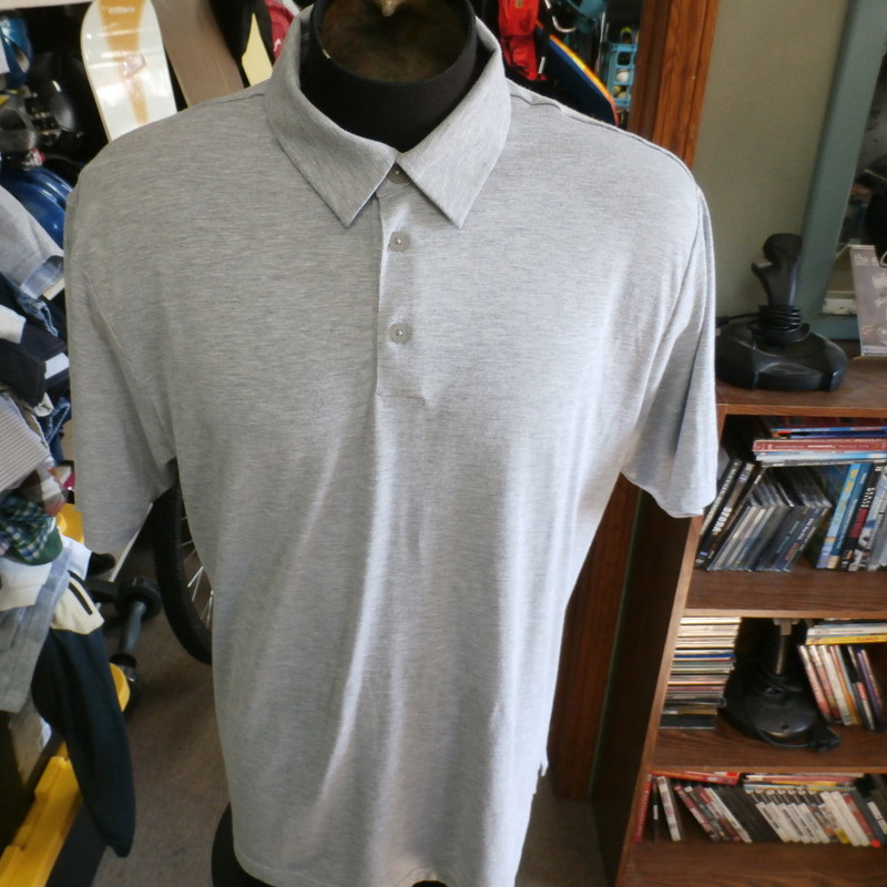 "Adidas Golf gray ClimaLite polo shirt size Large polyester blend #30124<br /> Rating: (see below) 3- Good Condition<br /> Team: n/a<br /> Player: n/a<br /> Brand: Adidas<br /> Size: Men's Large- (Measured Flat: Across chest 24""; Length 30"")<br /> Measured Flat: underarm to underarm; top of shoulder to bottom hem<br /> Color: gray<br /> Style: short sleeve; embroidered<br /> Material: 97% polyester 3% spandex<br /> Condition: 3- Good Condition: minor wear and fading from use; some fuzz and pilling on right shoulder (see photos)<br /> Shipping: FREE"