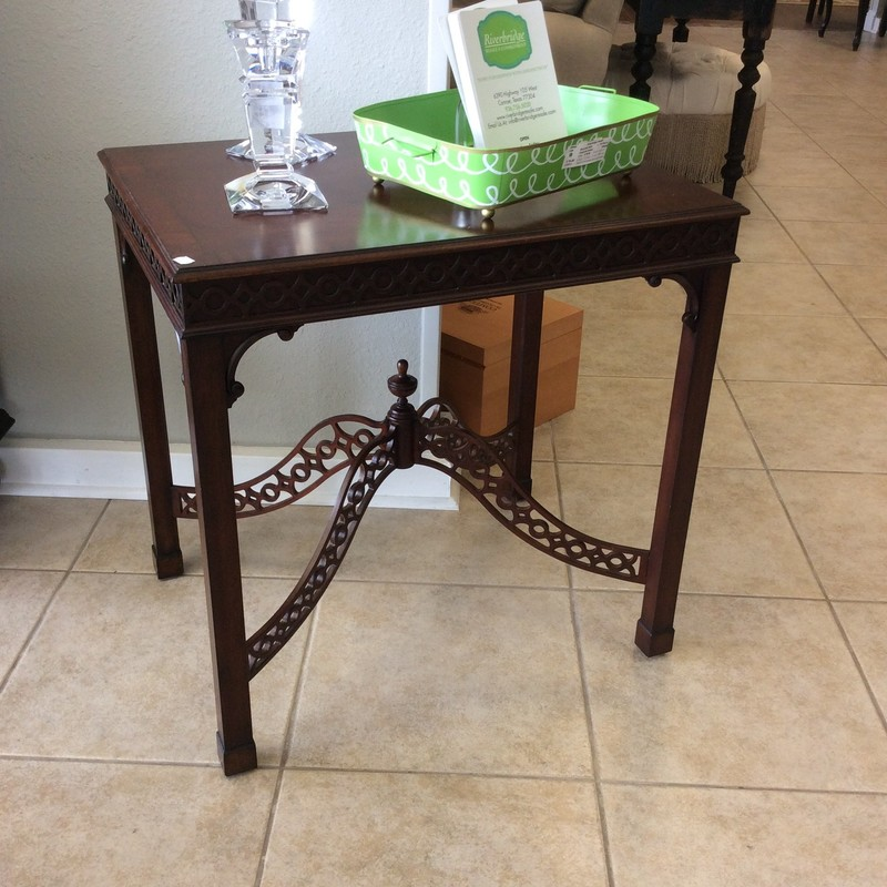 This is a really pretty ETHAN ALLEN side/end table. The intricate wood lattice work is what sets this piece aside from others. It's a shame we don't have two of them!