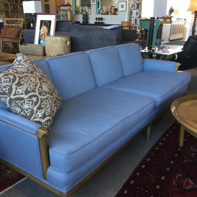 "Vintage Blue Sofa, 89"" x 31"", Size: Wood & Upholstry"