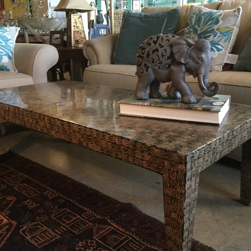 "Mod Coffee Table Shell Motif, Brown & Black, Size: 52""X26"""