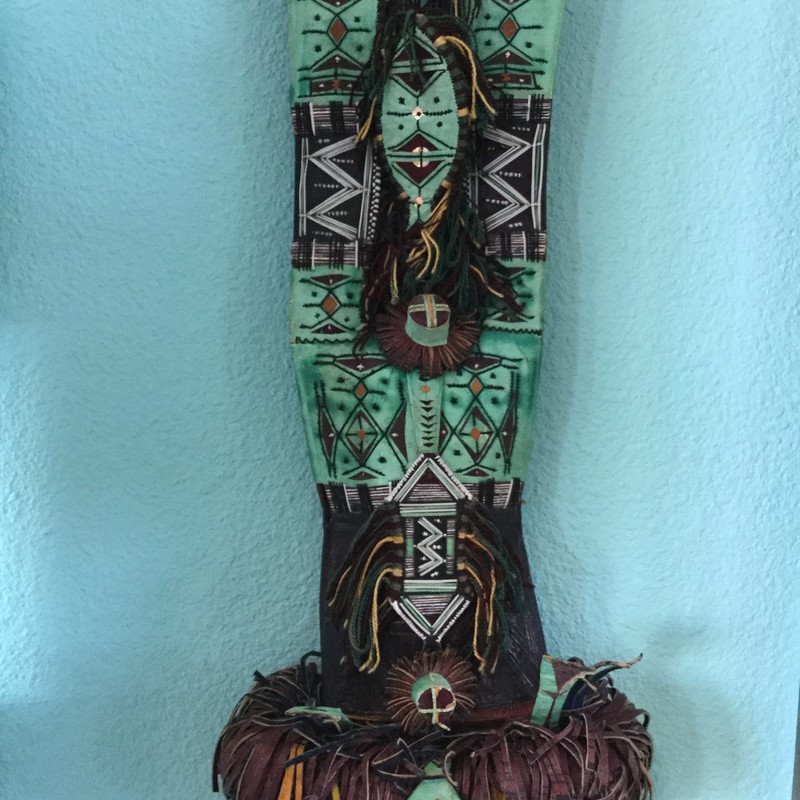 Inuit Leather Art, Green & Brown Size: 26""