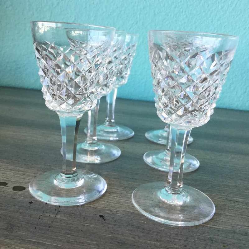 Set 6, Waterford Cordial Glasses, Alana Pattern, Crystal, Size: 3.5""