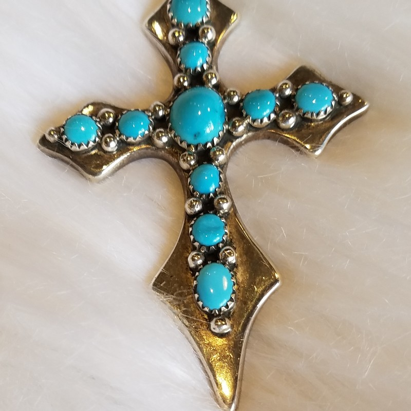 NELLIE TSO<br /> NAVAJO CROSS<br /> SILVER AND TURQ<br /> 2&quot; x 3&quot;<br /> WAS $230<br /> NOW $160