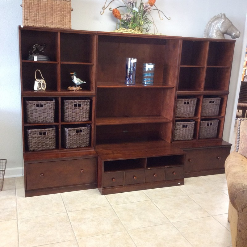 This media center by Ethan Allen is large and provides tons of space for storage and displaying!  It features 18 cubbyholes, 2 adjustable shelves, 4 small drawers and 2 super-sized drawers. The set comes in 6 pieces and is very easy to put together.