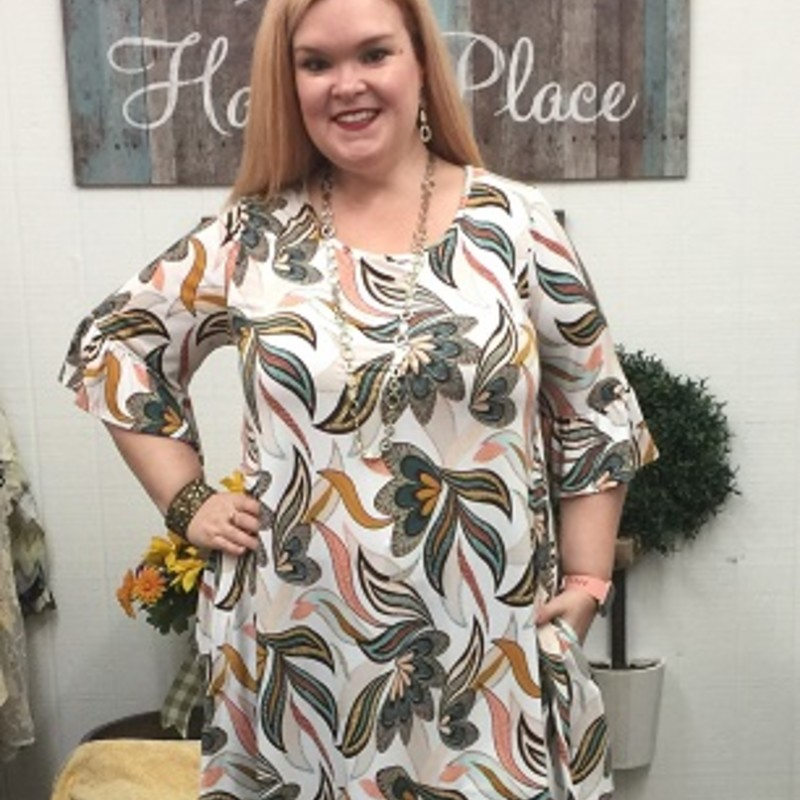 Tonya looks gorgeous in our Ruffle Sleeve Floral Pocket Dress, you will never see anything like this girls! The material is made of 95% Polyester and 5% Spandex you can wear it to any occasion and it has a length of 38.5 in.