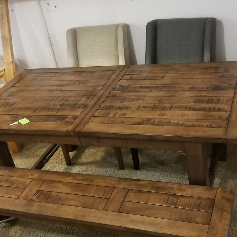 DINING TABLE W/ BENCH AND, None, Size: None