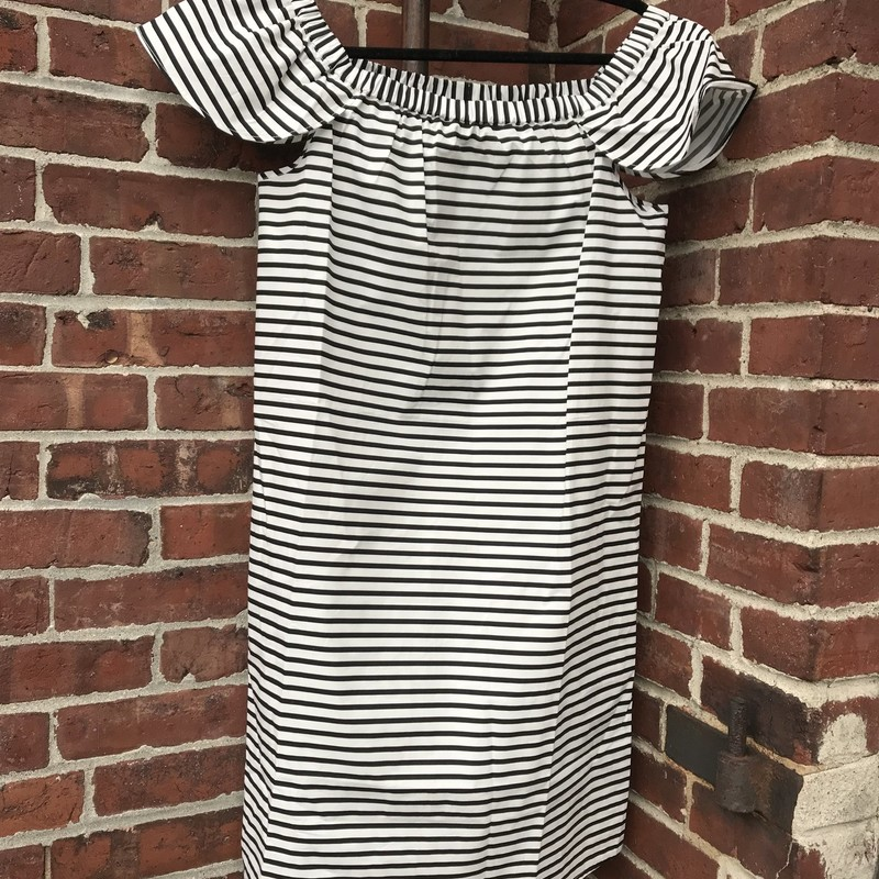 Cotton. Black and white stripe dress NWT. Size: S