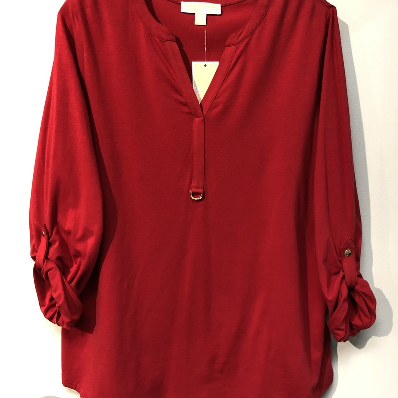 "Michael Kors Top<br /> Color: Red<br /> Size: Xlarge<br /> Features:<br /> -decorative gold ring on front<br /> -sleeves may be worn down or rolled up to 3/4 length,   held in place with a band, snapped in place<br /> Approximate (laying flat) measurements:<br /> Shoulder-to-shoulder: 16""<br /> Underarm-to-underarm: 22""<br /> Underarm-to-bottom of sleeve: 18""<br /> Shoulder-to-bottom of sleeve: 25""<br /> Front of collar-to-bottom: 25"" (top of ""V"")<br /> Back of collar-to-bottom: 27.25""<br /> Across bottom: 23"""