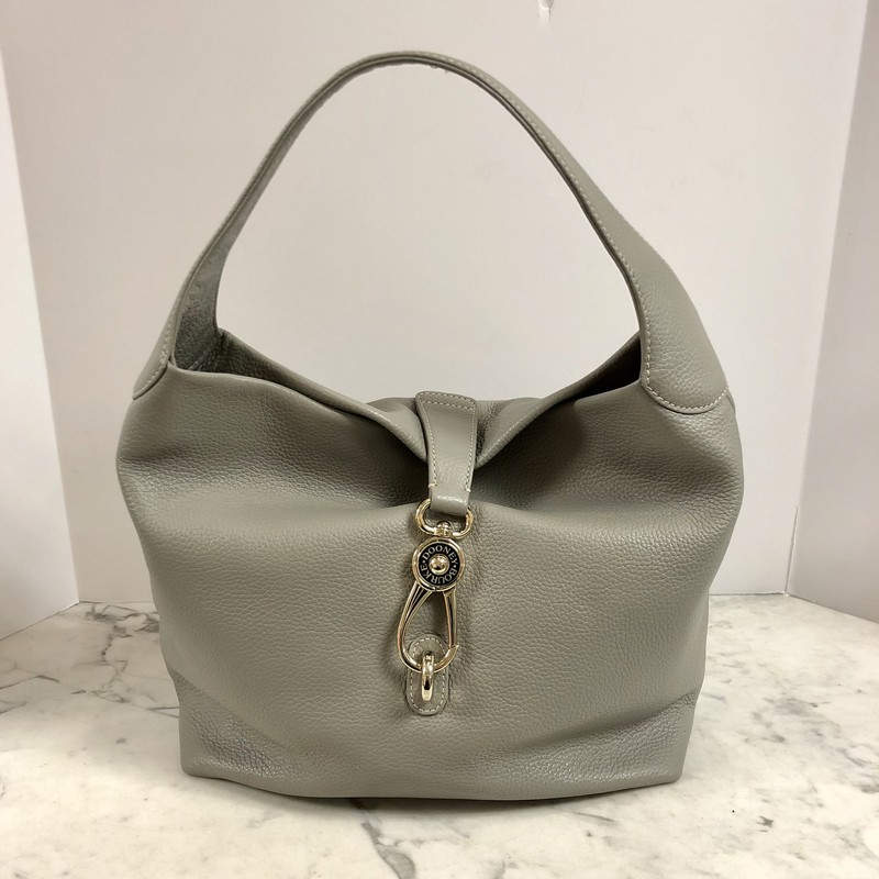 A chic silhouette and luxurious construction! This is a gorgeous pebbled leather, Belvedere Lock Dooney &amp; Bourke Hobo, gleaming with pops of metallic hardware.<br /> Color: Gray<br /> Material: Leather outside, Cotton inside<br /> Excellent and Super Clean condition. Like New!<br /> Includes a connected key fob and a beautiful wallet/change purse. (see photos)<br /> Hand Bag DImensions:<br /> 13-1/2&quot; w x 13&quot; h x 7&quot; d (measured along bottom of bag)<br /> 8&quot; handle drop<br /> Hand bag Features:<br /> -hook closure<br /> -polished gold tone exterior hardware and feet<br /> -4 interior pockets, 1 cell phone pocket<br /> Wallet Dimensions:<br /> 6-5/8&quot; w x 4-3/4&quot; h x 1&quot; d<br /> Wallet Features:<br /> -gold tone metal hardware and square metallic tag<br /> -four interior card pockets<br /> -outside is leather, inside is red vinyl<br /> Retails: $328, Our Price: $185