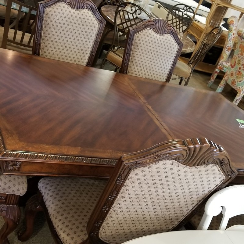 DINING TABLE W/ 6 CHAIRS, None, Size: None