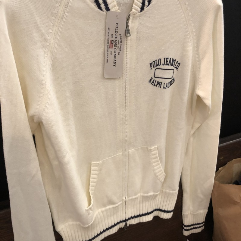 RL Polo Jeans Co Cardigan, White, Size: Medium