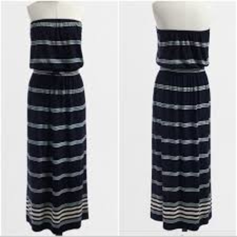 J. Crew Factory stripe strapless jersey maxidress, size XS, great, gently worn condition.