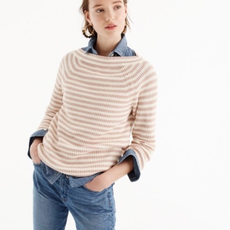 J. Crew Relaxed boatneck sweater in stripe size XXS<br /> <br /> &quot;Basically THE perfect layer heading into the cooler months thanks to the flattering fit and the ribbed cotton (that&#039;s an ideal end-of-summer, beginning-of-fall weight). Even better, the boatneck can also be worn off the shoulders or on one shoulder for tons of versatility.<br /> <br />     Cotton.<br />     Hand wash.    Relaxed fit.<br />     Hits slightly below hip.&quot;<br /> <br /> Photo and description credits: jcrew.com