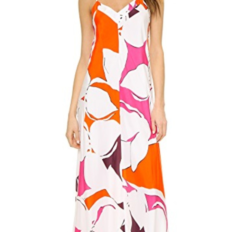 "Diane von FurstenbergBarths Silk Maxi Dress, size 0, EUC, orig. rtl: $598<br /> <br /> ""    Thin spaghetti straps create a racerback silhouette in the floral print Barths Silk Maxi Dress.<br />     - V-neck<br />     - Sleeveless<br />     - Racerback<br />     - Spaghetti straps<br />     - Allover floral print<br />     - Lined<br />     - Approx. 60"" length<br />     - Imported<br /> Fiber Content<br />     Shell: 100% silk<br />     Lining: 100% polyester<br /> Care<br />     Dry clean only""<br /> <br /> Photo and description credits: nordstromrack.com"