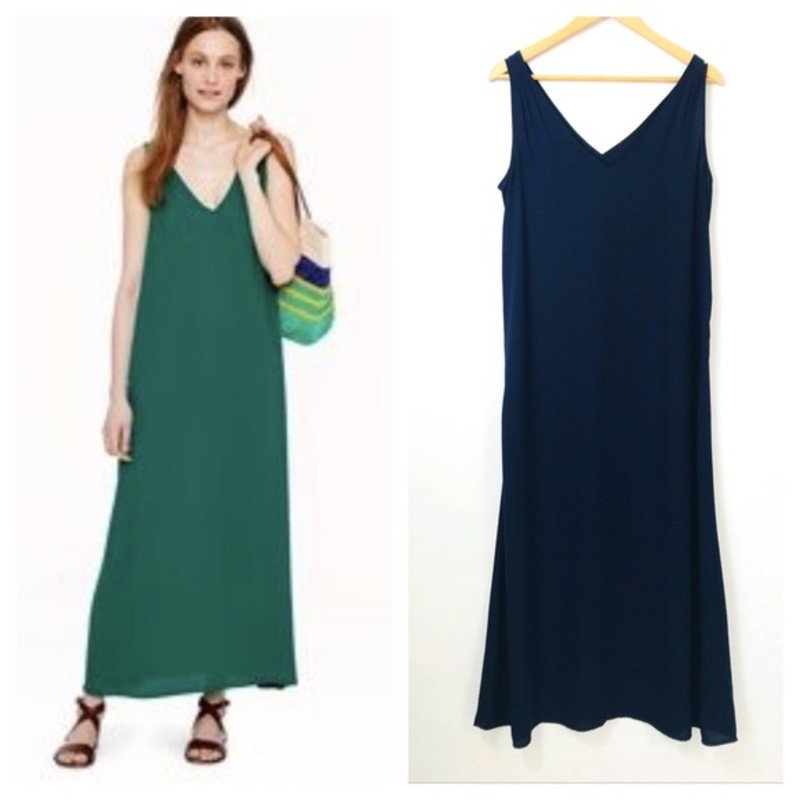 j. crew Crepe Maxidress, Navy, Size: Large