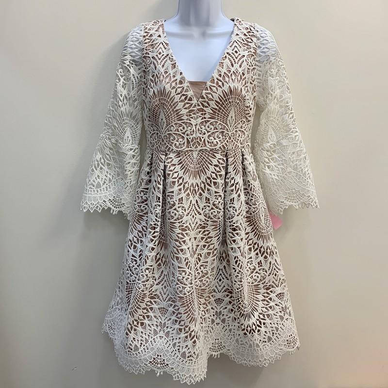 Monique Lhuillier Lace Dress<br /> Blush & Cream<br /> Size: A generous 6