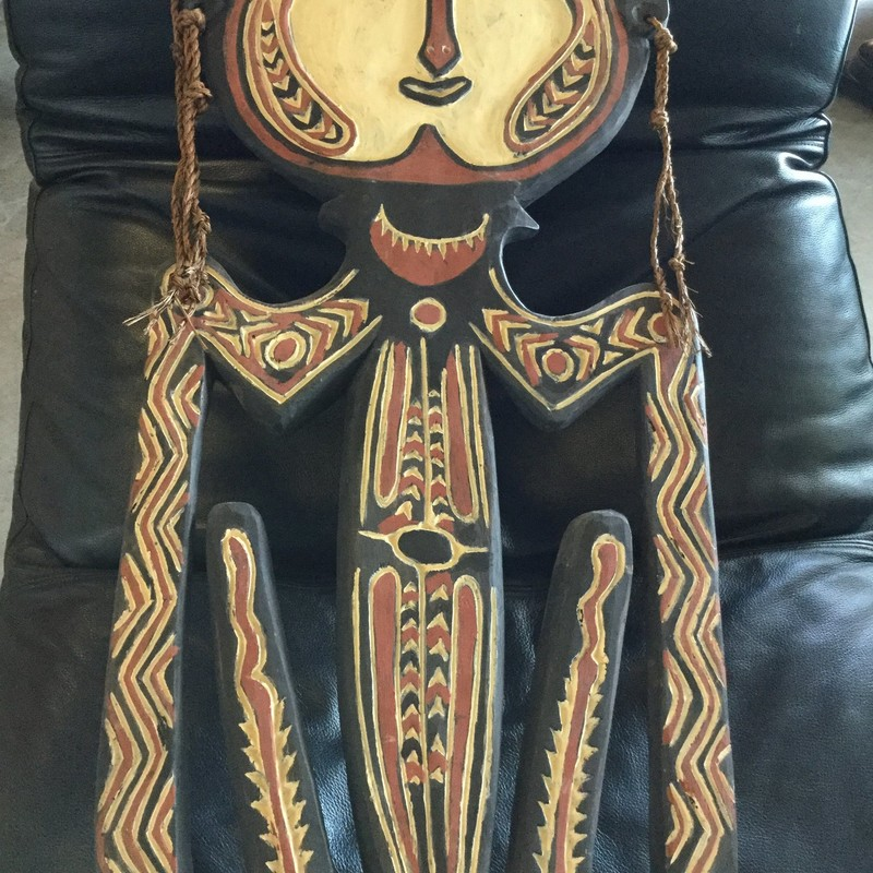 "Male African Wooden Art, Black & Rust, Size: 42"" x 15"""
