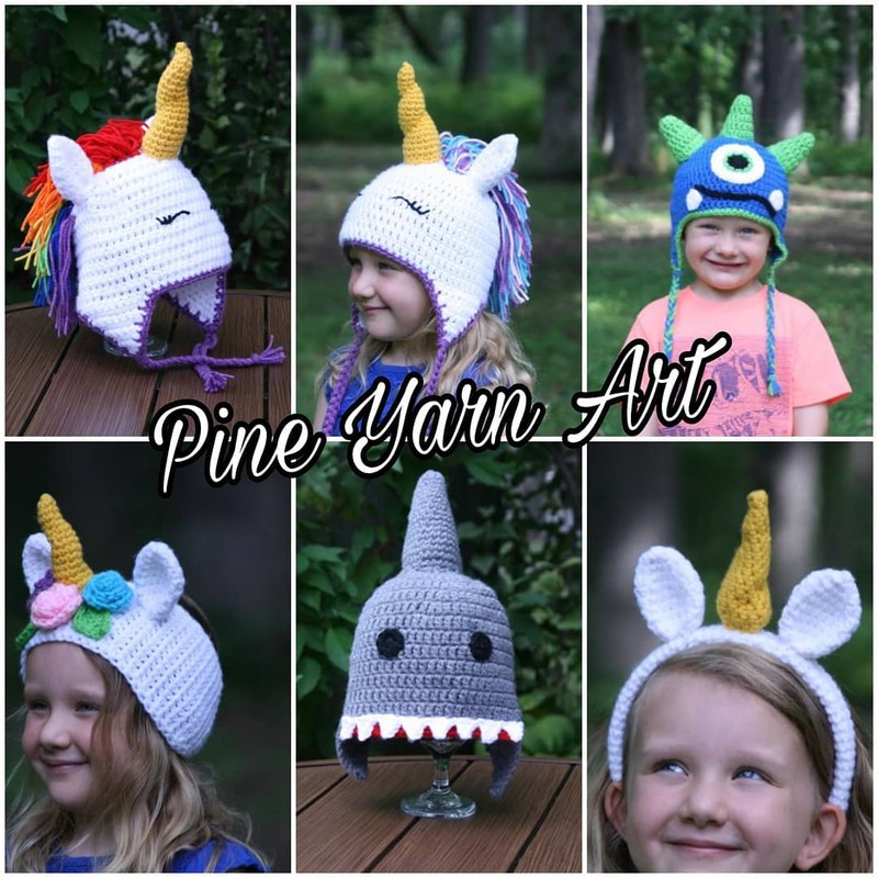 Unicorn Headband, Size: Child<br /> Created by Pineyarn Art<br /> *Listing is for Unicorn handband only pictured in bottom row, right side.<br /> Other accessories can be purchased separately.