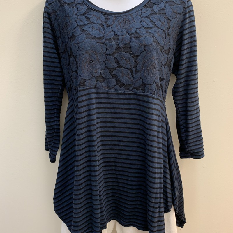Cut.Loose Stripe Tunic Top<br /> Lace Overlay<br /> Teal & Black, Size: Small