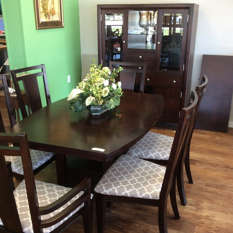 "This is a great little BROYHILL dining room set. It features solid wood construction and the table measures 60""x42"" and also has an 18"" leaf. The china hutch is a compact 52""x18""x67"" and has tons of storage. This is a great deal at only $1195 for the entire set!"