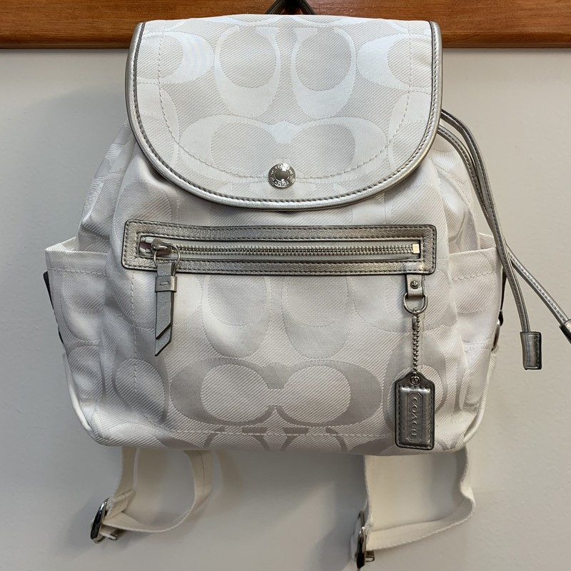 COACH Signature Backpack<br /> White Fabric