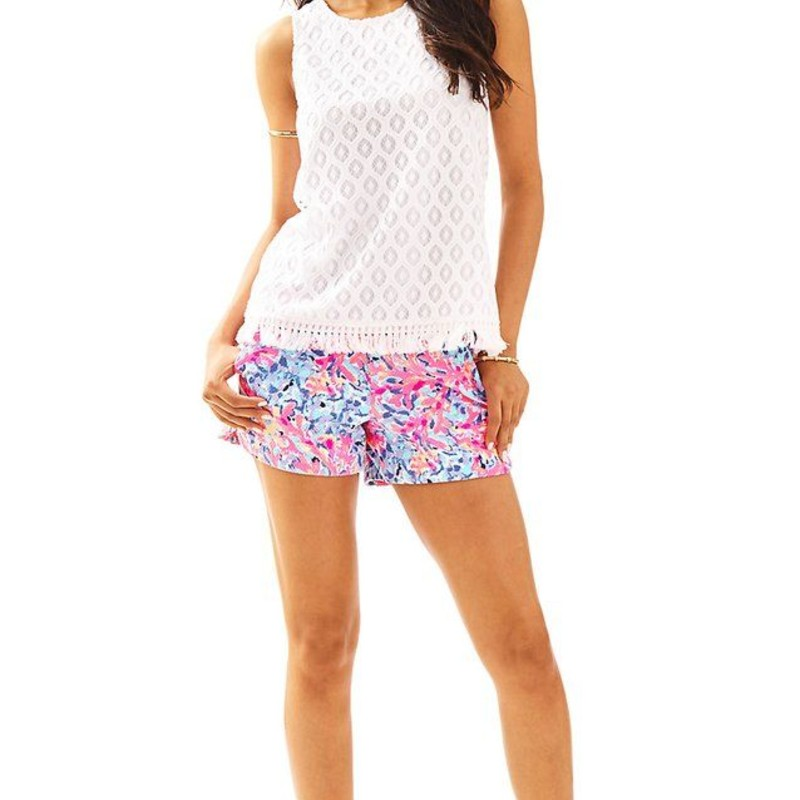"Lilly Pulitzer Maybelle Top, White, Size: Small<br /> <br /> ""You already know how much we love custom color, but take a look at the custom lace pattern on the Maybelle Top. As if the lace detail wasn't enough, this tank boasts a back zipper detail and a fringe trimmed hem.<br /> Sleeveless Tank Top With A Back Zipper Detail And Fringe Trimmed Hem.<br /> Custom Island Time Lace (100% Polyester).<br /> Machine Wash Cold, Delicate Cycle.""<br /> <br /> photo and description credits: lillypulitzer.com"