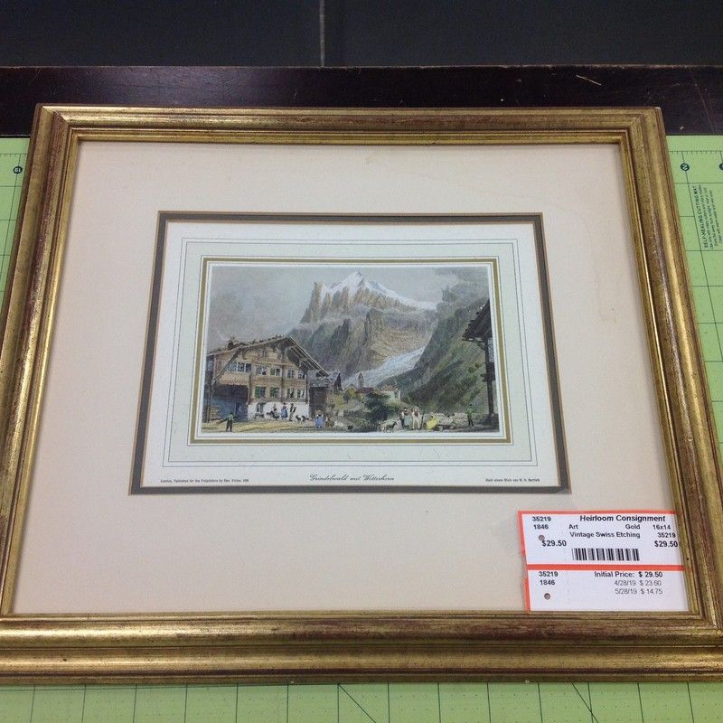 Vintage Swiss Etching, Gold, Size: 16x14
