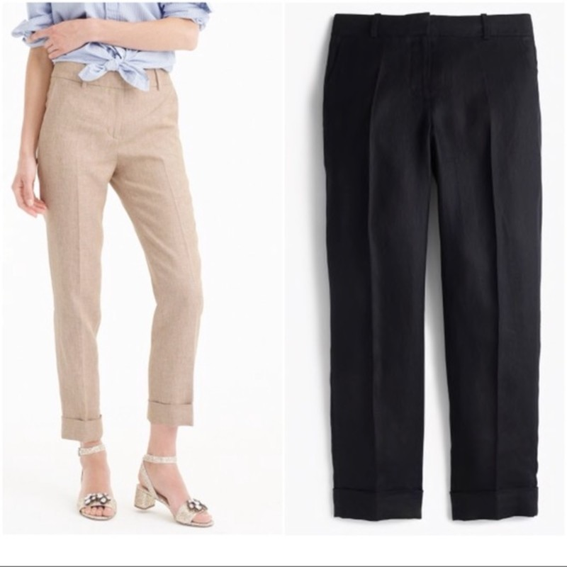"J. Crew great condition, Rhodes Pant In Linen, Black, Size: 2<br /> <br /> ""Sits at hip.<br /> Fitted through hip and thigh with a slim leg.<br /> 26"" inseam.We love the Rhodes blazer so much that we made a matching pant. This slim, tapered style sits at the hips and has a cuff at the ankle for an extra-polished look.<br /> <br />     Linen.<br />     Cuffed.<br />     Dry clean.""<br /> <br /> Photo and description credits: Jcrew.com"