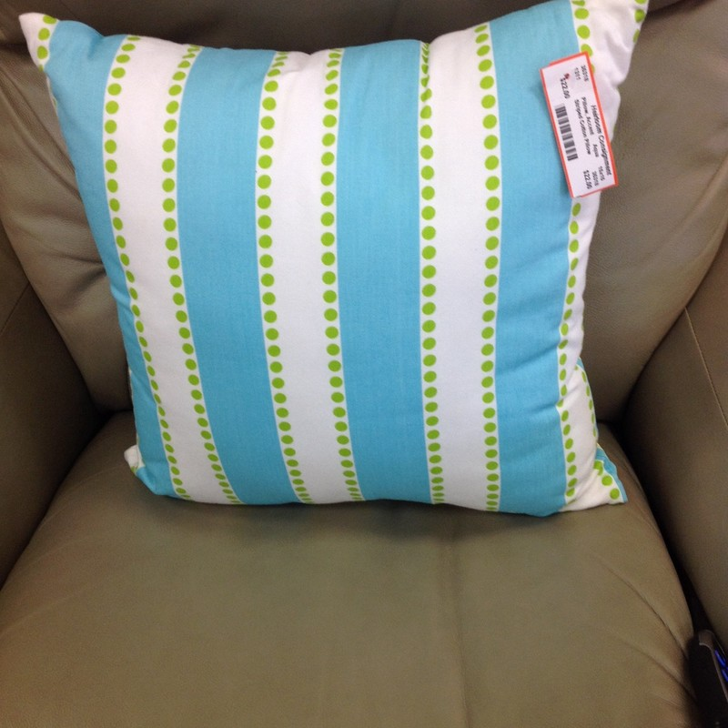 Striped Cotton Pillow, Aqua, Size: 15x15