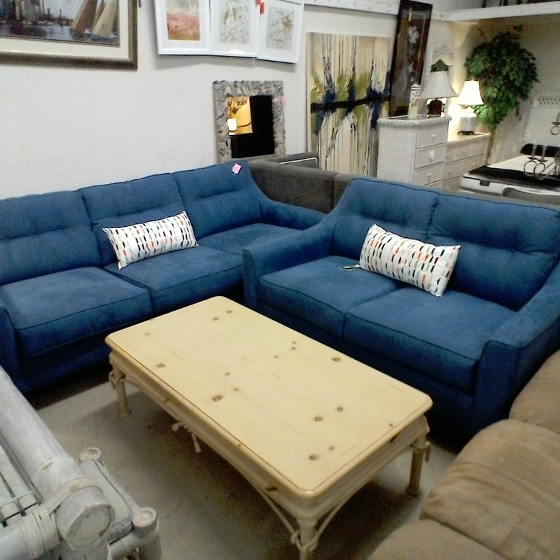 CINDY CRAWFORD SOFA & LOV, BLUE, Size: None