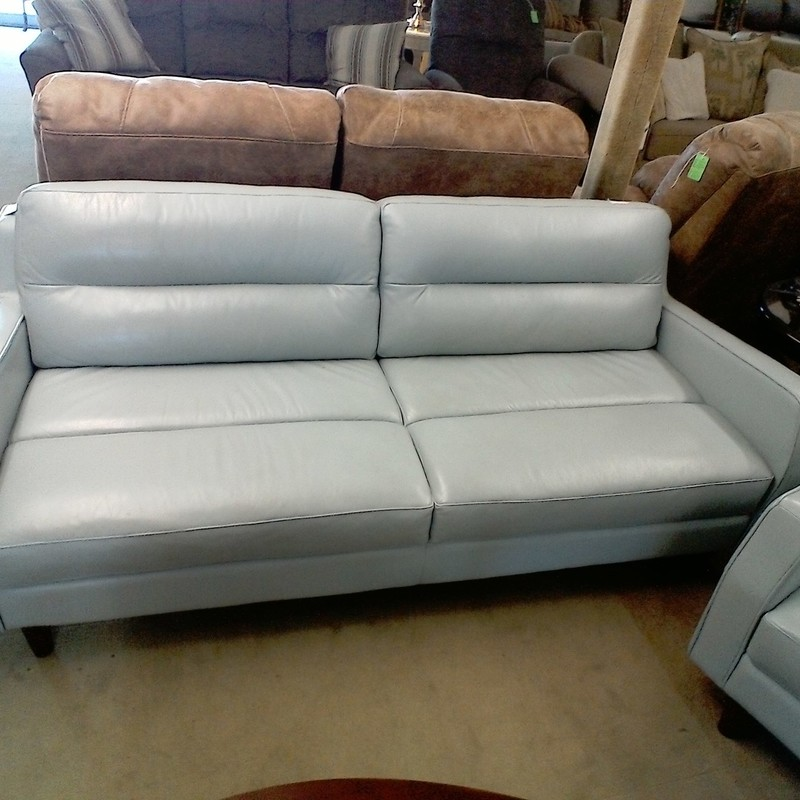 LEATHER SOFA - DOMA, LT AQUA, Size: None