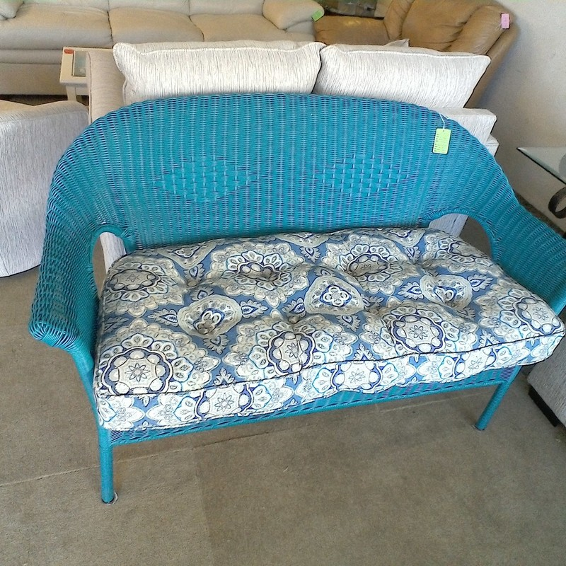 PATIO BLUE WICKER BENCH, None, Size: None