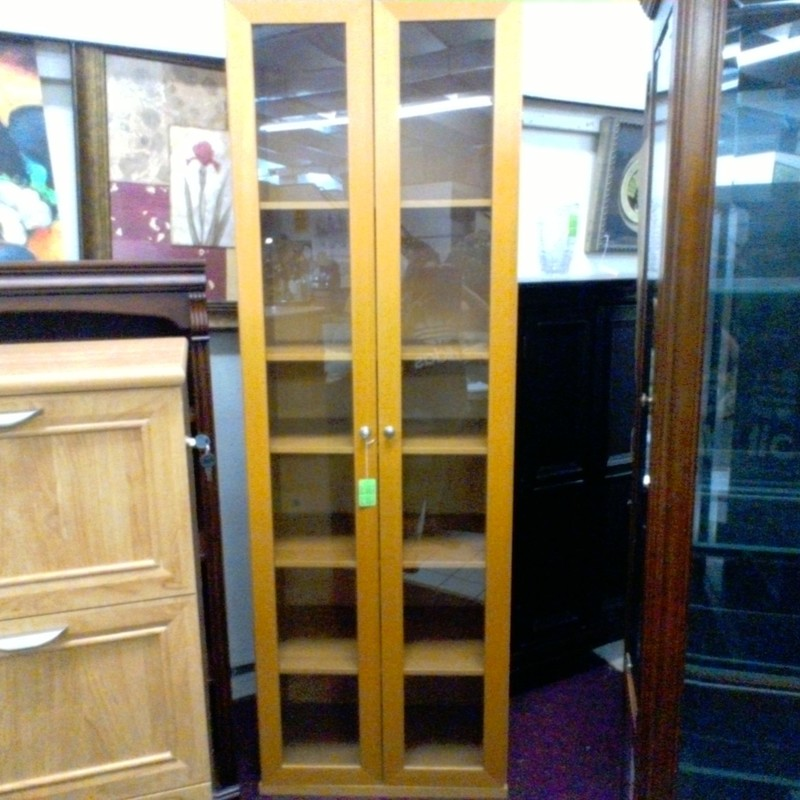 LARGE WOOD CABINET - GLAS, None, Size: None
