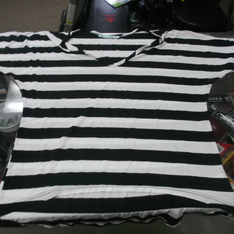 "Maurices Women's V Neck Striped Shirt Size Small Black and white #8394<br /> Rating:   (see below) 3 - Good Condition<br /> Team: n/a<br /> Player: n/a<br /> Brand: Maurices<br /> Size: Small - Women's(Measured Flat: Across chest 18""; Length 21"")<br /> Color: Black and white<br /> Style: V Neck Striped shirt<br /> Material: 50% Polyester 50% Rayon<br /> Condition: - Good Condition - wrinkled; Material is faded and discolored; Pilling and fuzz is present; Stain bottom left of the front; Material feels coarse; Definite signs of use(See Photos for condition and description)<br /> Top of the shoulder to the hem<br /> Shipping: $3.37<br /> Item #: 8385"
