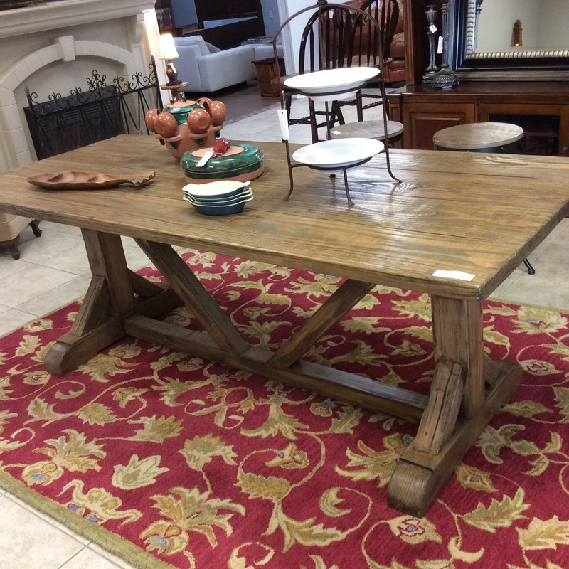 Isn't this CUSTOM piece a beauty? It is 7 feet long, 3 feet wide, 31 inches tall and features solid wood construction. The handsome base is a trestle style. Stop by and see it for yourself!