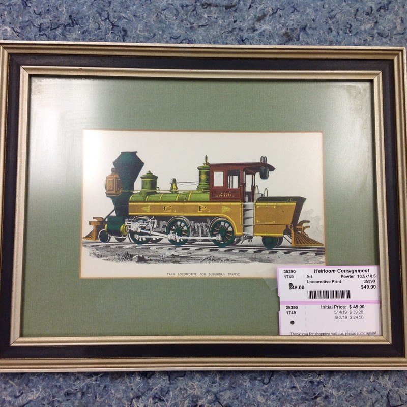 Locomotive Print, Pewter, Size: 13.5x10.5