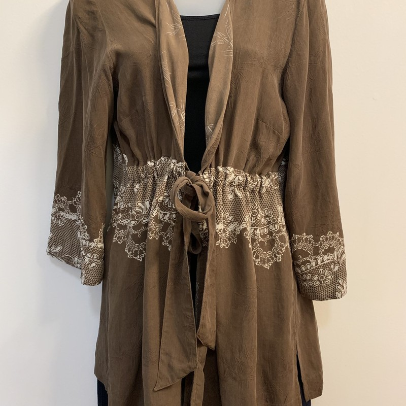 Citron Tie Cardigan<br /> 100% SILK<br /> Brown &amp; Cream<br /> Size: Large