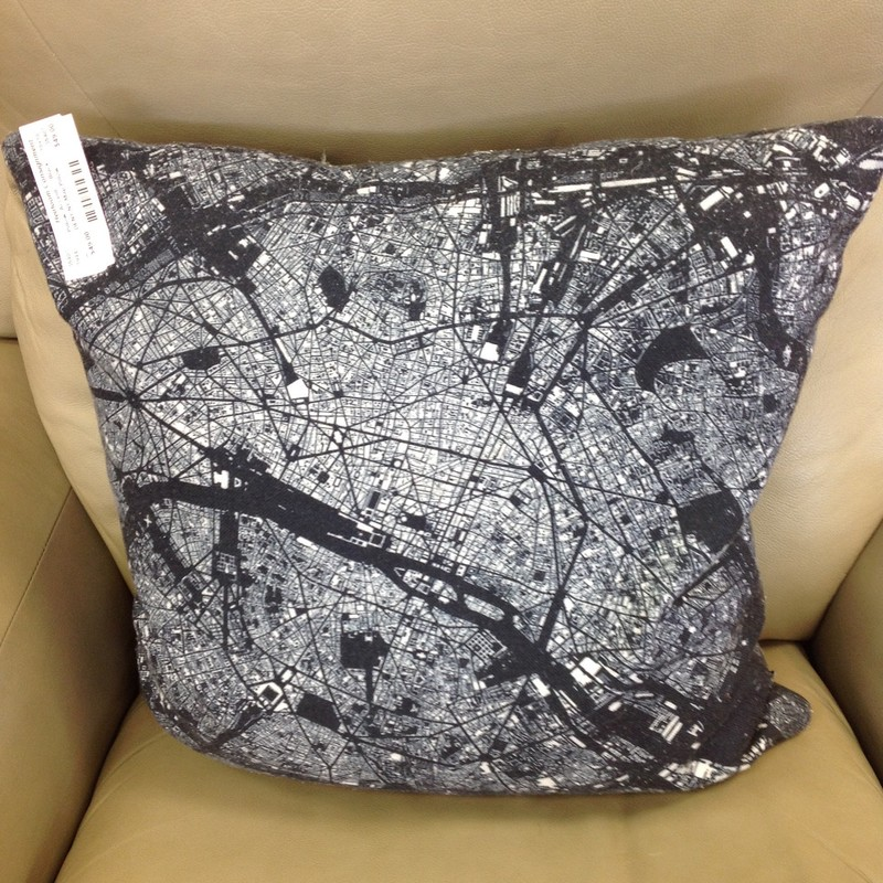 DENY NY Map Pillow, Black, Size: 18x18
