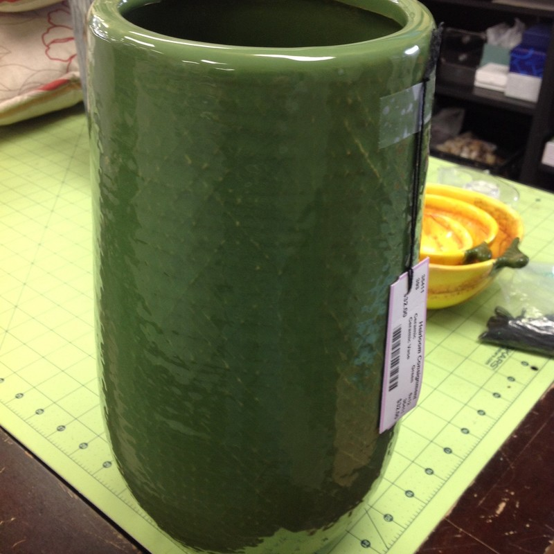 Ceramic Vase, Green, Size: 6x12