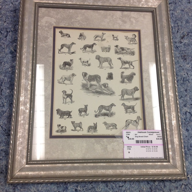 Dog Breed Chart, Silver, Size: 14x17