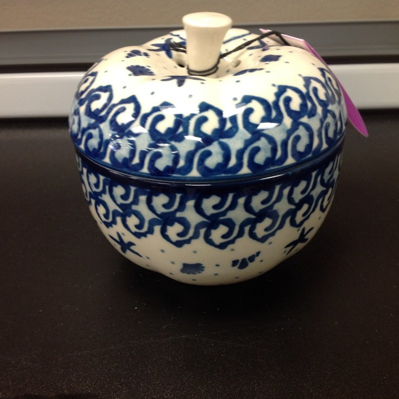 Polish Pottery Apple Bake, Blue/Wht, Size: 5x4