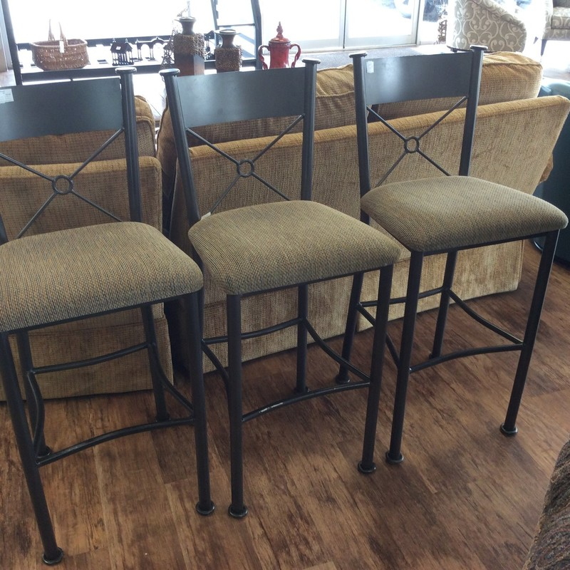 "This is a super nice set of iron barstools! Modern in style, they sit at 29"". The upholstery is neutral gold/tan with just a hint of blue. They're in very good condition!"