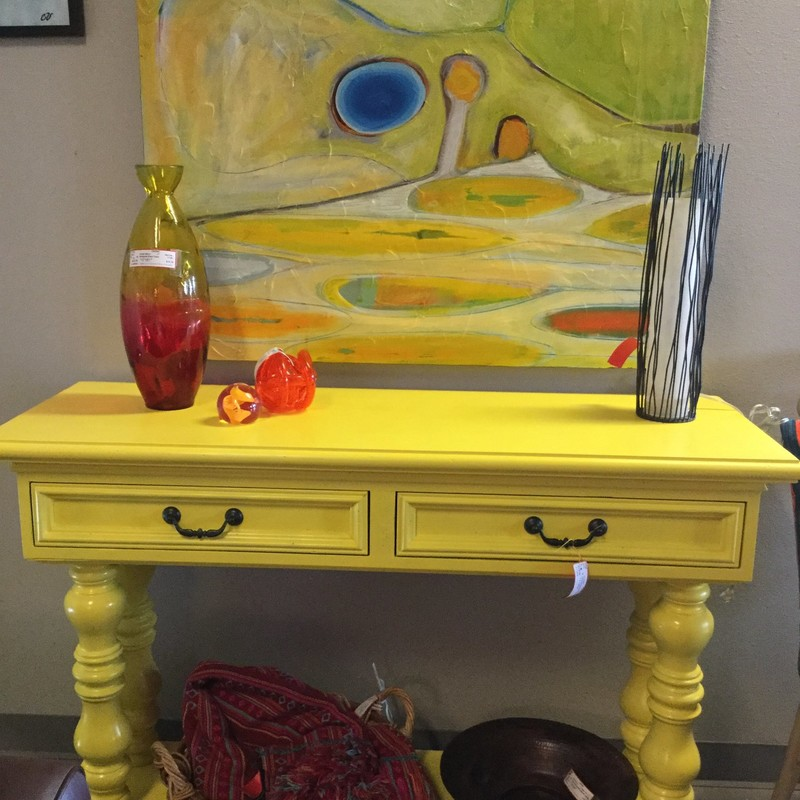"2 Drawer Console Turned Legs, Yellow, Size: 49.5"" X 18"" X 30"""
