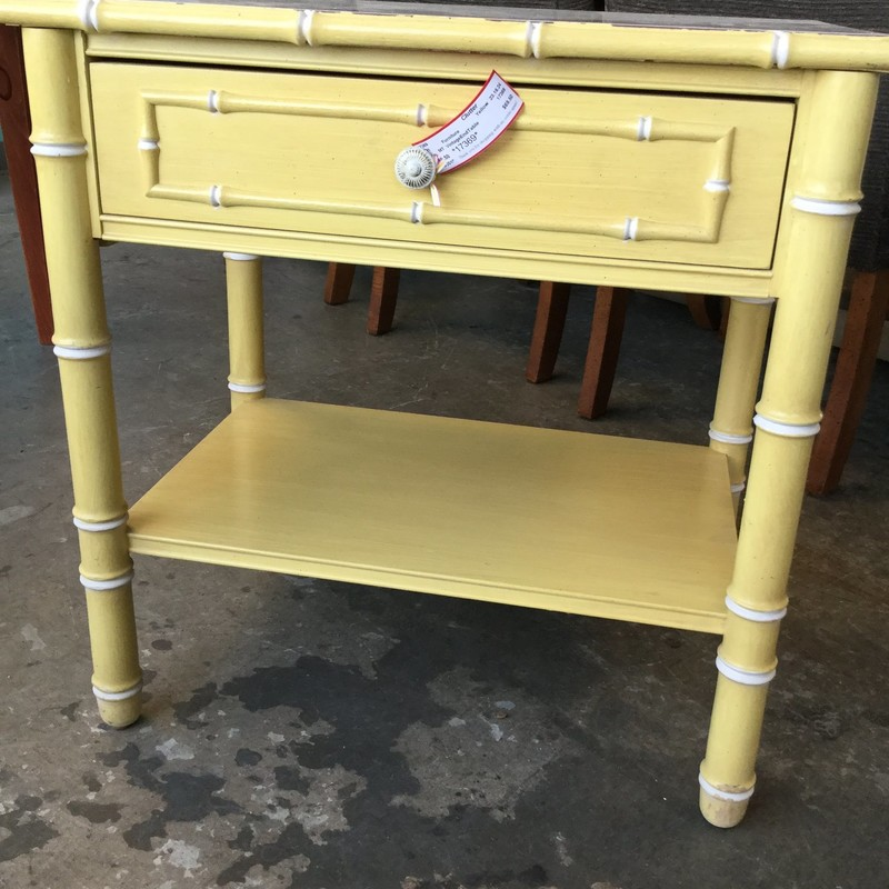 "Vintage End Table, Yellow, Size: 23"" X 16"" X 24"""